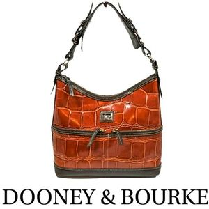Dooney & Bourke Croc Embossed Cognac Leather Hobo